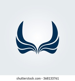 Isolated abstract vector wings logo. Spread black sign. Birds flight icon. Airline company label. Plane emblem. Simple flat image. Gerb template.