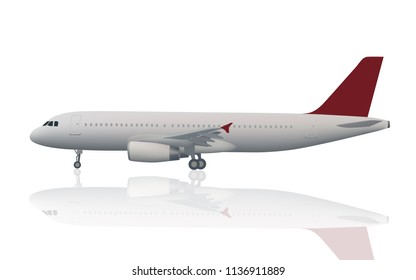 Isolated airplane with two engines in gray color with red tail (plane,areoplane) in vector file-ready to use