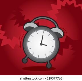 Isolated alarm clock ringing and shaking