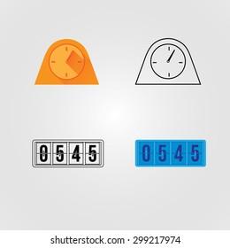Isolated alarm clock set line colored set