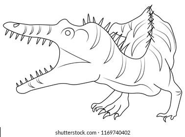 isolated allosaurus dinosaur roaring to hunt more dinosaurs
