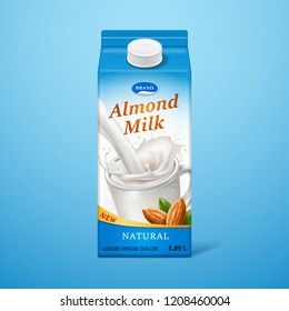 Isolated almond milk in paper package with liquid splash and nuts, natural drink branding on carton container with lid, advertising of vegan liquid for nutrition. Dairy packaging and advertising