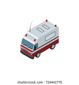 Isolated Ambulance Isometric. First-Aid    Vector Element Can Be Used For Ambulance, Aid, Car Design Concept.