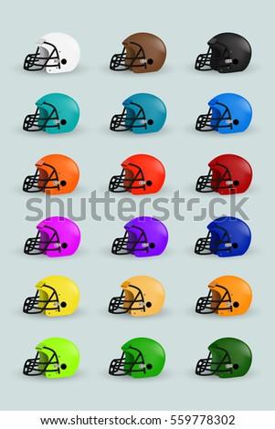 96bda7e4 Isolated American Football Helmet Color Set Design Stock Vector
