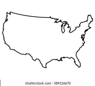 Isolated American map on a white background, Vector illustration
