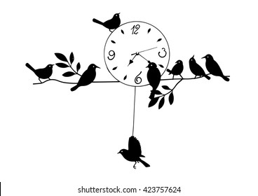 isolated analog clock vintage, Wall Clock, Bird House Clock.