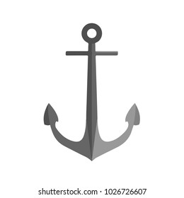 Isolated anchor icon. Classic metal sea anchor. Flat design. Vector Illustration