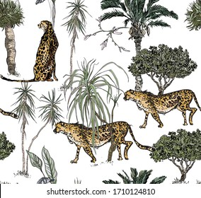 Isolated Animals Wildlife and Exotic Plants, Tropical Floral Botanical Print, Cheetah in Palms Children Wallpaper Design