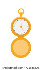 Isolated antique pocket vector watch.