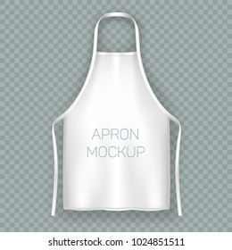 Isolated apron mock up. Protective white cloth, working uniform for kitchen cooking chef or baker, butcher bib or housewife clothing, professional or domestic wear accessory. Clothing theme