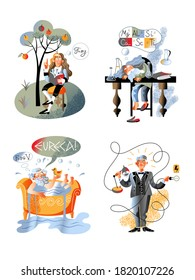 Isolated Archimedes in bathtub shouting eureka, Newton sitting under apple tree, Mendeleev sleeping on table, Edison switching on lamp. Great discover character set. Vector illustration