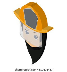 isolated avatar of a firewoman, Vector illustration