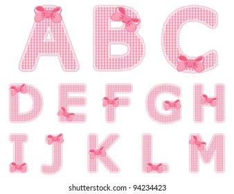 Isolated baby girl alphabet set from A to M