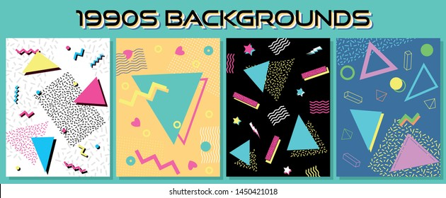 Isolated Background from the 1990s, Vintage Colors and Shapes