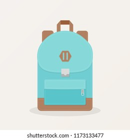 Isolated backpack icon. Rucksack for school, business, camping, street, travel and tourism. Vector illustration, flat design