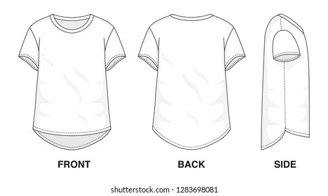 Isolated Baggy Loose Asymmetrical t-shirt object of clothes and fashion stylish wear fill in blank shirt. Regular Tee Crew Neck Sleeves Illustration Vector Template. Front, back and side view