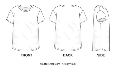 Isolated Baggy Loose t-shirt object of clothes and fashion stylish wear fill in blank shirt. Regular Tee Crew Neck Sleeves Illustration Vector Template. Front, back and side view