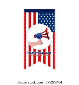 Isolated banner with the american flag and a hand holding a megaphone