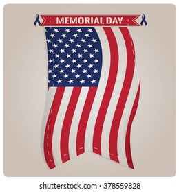 Isolated banner with the american flag and a ribbon with text for memorial day