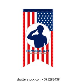 Isolated banner with the american flag and a soldier silhouette