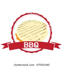 Isolated barbecue label with an arepa, Vector illustration