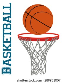 Isolated basketball net with a basketball ball. Vector illustration