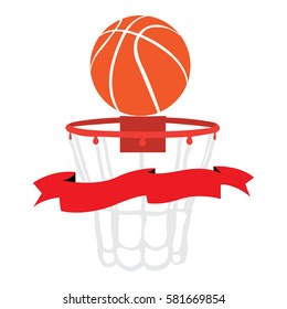 Isolated basketball net with a ribbon, Vector illustration