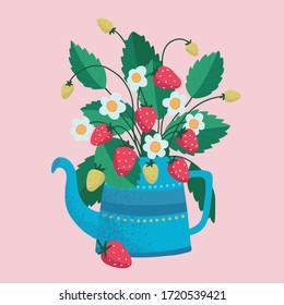Isolated beautiful flower bouquets in wrapping and blooming plant in watering can, strawberry composition. Decorative florist shop item.
