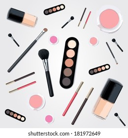 Isolated beautiful nude cosmetics and brushes for women