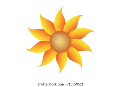 Isolated Beauty Yellow Flower Vector Illustrator
