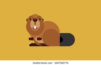 Isolated beaver icon in modern flat style, with simple Geometric shapes only