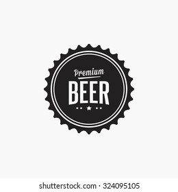 Isolated beer label with text and icons on a white background