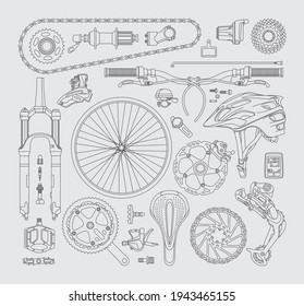 Isolated bicycle's parts. Vector linear elements