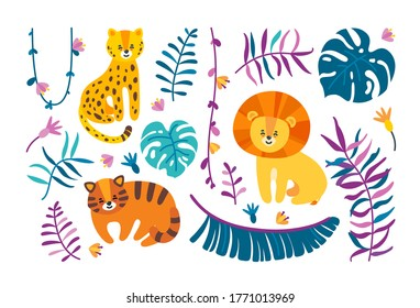 Isolated big cats with jungle leaves and lianas. Leopard, lion and tiger with different plants. Template with tropical theme. Vector illustration in flat style