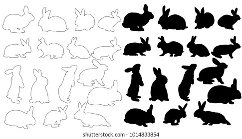 isolated big silhouette of a rabbit