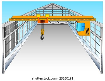 Isolated big warehouse with elevating crane, vector illustration