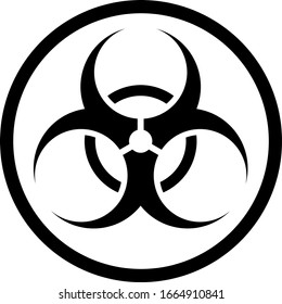 Isolated Biological Hazard or Biohazard Sign in a Circular Frame. Vector Image.