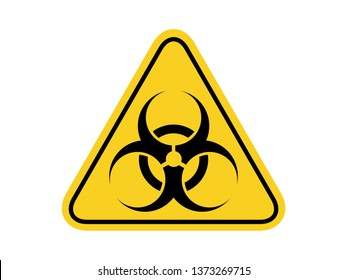 isolated biological hazards symbols on yellow round triangle board warning sign for icon, label, logo or package industry etc. flat vector design.
