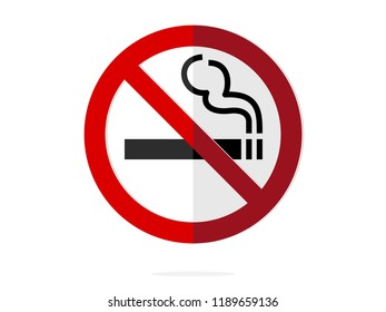 isolated black cigarette with smoking under ban sign for no smoking symbol  flat vector design like paperwork infographic style.