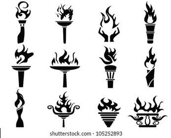 isolated black fire flame torch icons set from white background