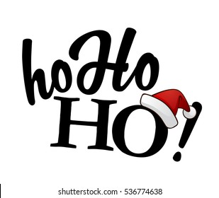 Isolated black Ho-ho-ho! text with Santa's red hat on white background.