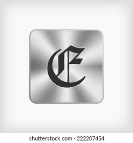 Isolated old english alphabet c letter stock vector hd royalty free isolated black old english alphabet e letter in steel icon on white background thecheapjerseys Images