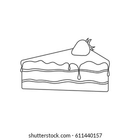 Isolated black outline pie of birthday sponge cake with chocolate and strawberry on white background.
