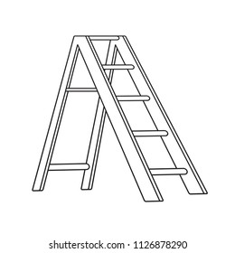 isolated black outline step ladder vector drawing