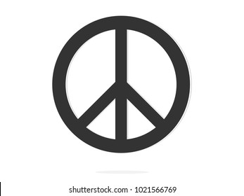isolated black peace symbol icon sign flat vector design