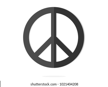 isolated black peace symbol paperwork icon sign flat vector design