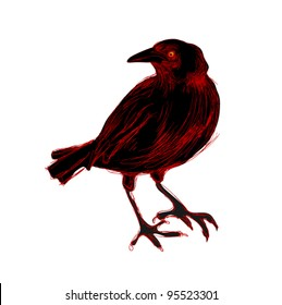 Isolated black and red crow, free hand drawing style
