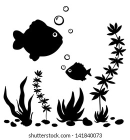 Isolated black silhouette  fishes, plants and shells - vector