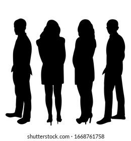 isolated, black silhouette line of people