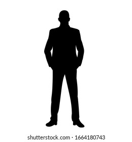 isolated, black silhouette man, businessman